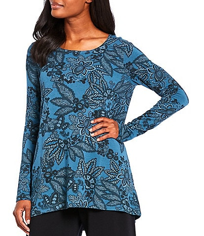Bryn Walker Gabo Floral Printed French Terry Long Sleeve Hi-Low Layering Tunic
