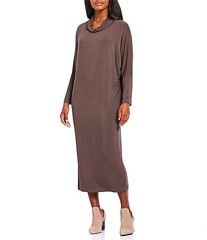 Bryn Walker Ilse Long Sleeve Cowl Neck French Terry Wedge Shape Midi Dress