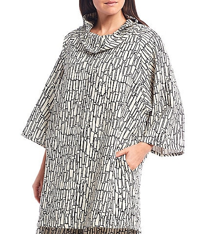 Bryn Walker Keeley Stretch Crepe Cowl Neck 3/4 Sleeve Tunic