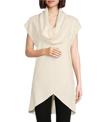 Bryn Walker Lavinia Knit Jersey Cowl Neck Cap Sleeve Crossover Hem Tunic