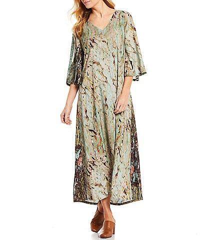 Bryn Walker Acquario Print V-Neck 3/4 Bell Sleeve Maxi Liliana Dress