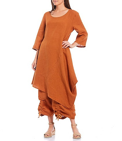 Bryn Walker Linen Scoop Neck 3/4 Sleeve Asymmetrical Hem Naida Tunic
