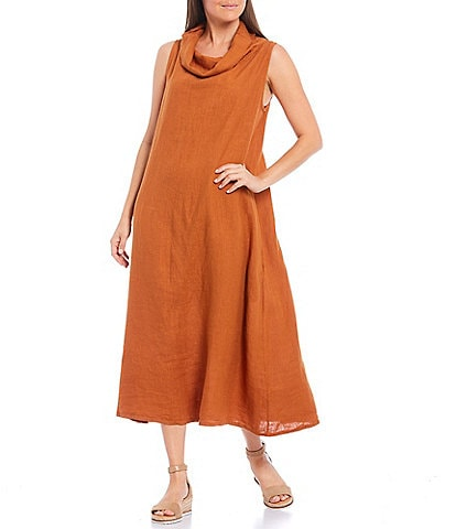 Bryn Walker Linen Henrietta Cowl Neck Sleeveless Midi Dress
