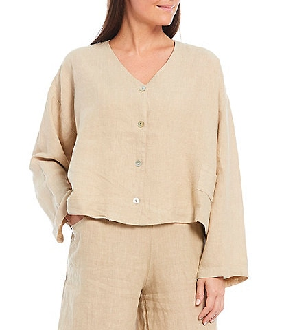Bryn Walker Linen Lightweight V-Neck Button Front Long Sleeve Cropped Cardigan