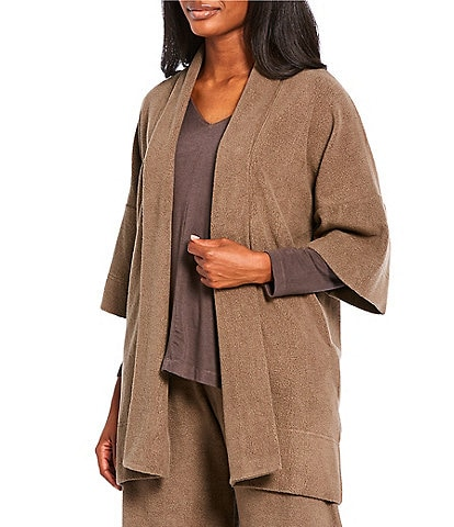 Bryn Walker Marta Pebble Terry 3/4 Sleeve Open Front Cardigan