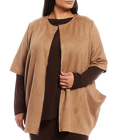 Bryn Walker Plus Size Conrad Stretch Faux Suede Short Sleeve Zip Front Jacket