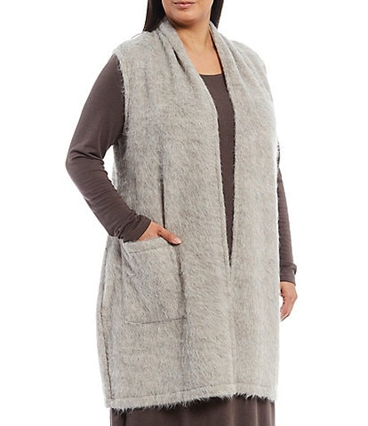 Bryn Walker Plus Size Edmund Organic Brushed Terry Open Front Vest with Pockets