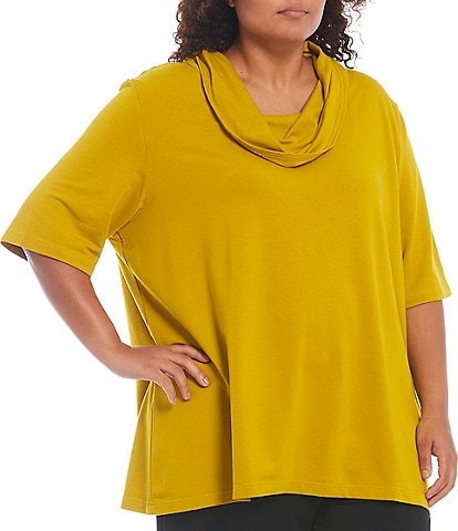 Bryn Walker Plus Size Enola Bamboo French Terry Elbow Sleeve Cowl Neck Tunic