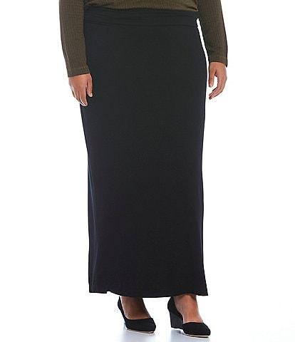 Bryn Walker Plus Size French Terry Knit Long Pencil Skirt