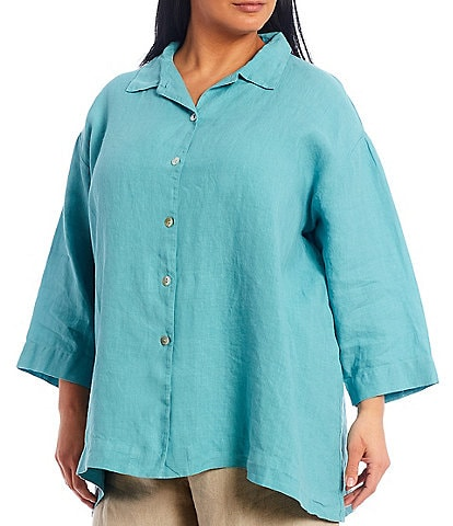 Bryn Walker Plus Size Gordon Light Linen 3/4 Sleeve Button Down Shirt