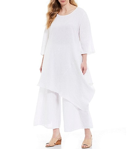 Bryn Walker Plus Size Naida Asymmetrical Hem Light Linen Tunic