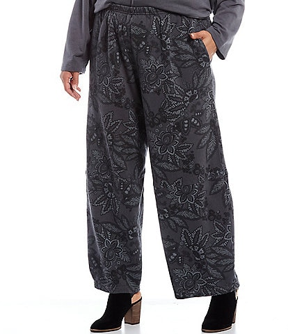 Bryn Walker Plus Size Olivier Floral Print Bamboo Fleece Pull-On Lantern Pant
