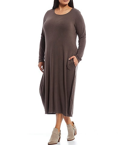 Bryn Walker Plus Size Philippa French Terry Long Sleeve Scoop Neck Midi Dress with Pockets