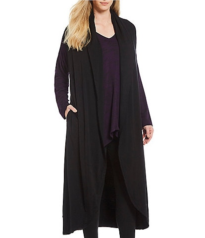 Bryn Walker Plus Size Wide Fold Over Collar Long Wrap Vest