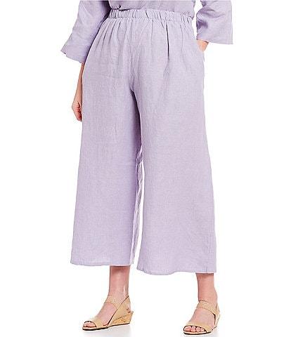 Bryn Walker Plus Size Wide Leg Linen Flood Pants