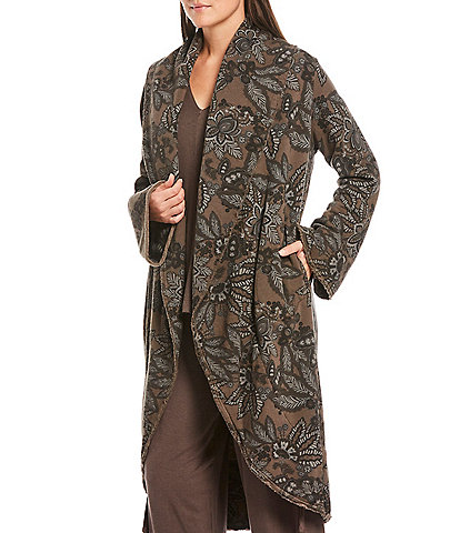 Bryn Walker Printed Bamboo Fleece Open Front Wrap Coat