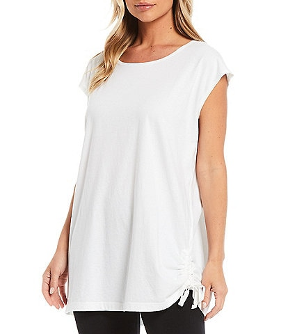 Bryn Walker Quinn Combed Cotton Cap Sleeve Side Ruched Tunic
