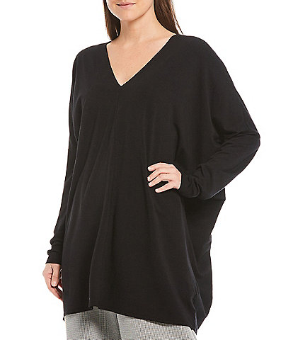 Bryn Walker Raquel Drop Shoulder Long Sleeve V-Neck Organic Bamboo Cotton Tunic
