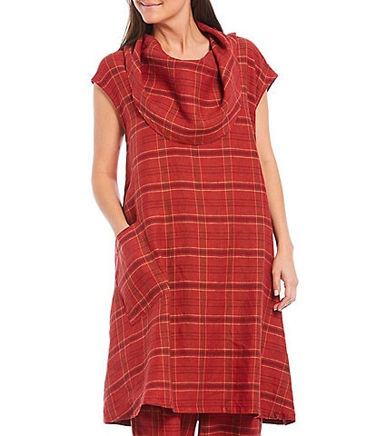 Bryn Walker Nolan Cap Sleeve Plaid Cowl Neck Pocket Front Detail Long Tunic Linen Dress