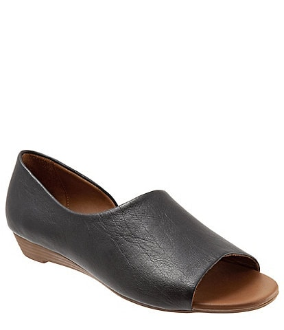Bueno Anna Leather Demi Wedge Open Toe Slip On Flats