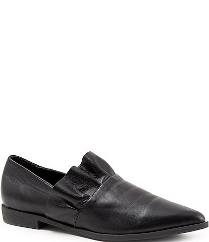 Bueno Burcu Leather Ruffle Slip On Loafer