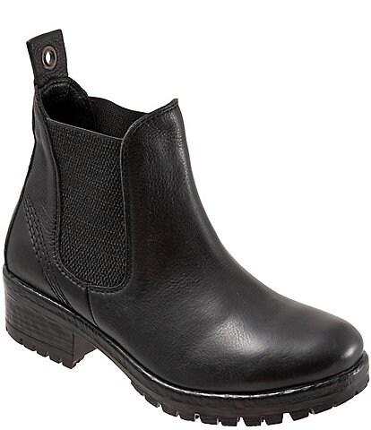 Bueno Florida Leather Block Heel Lug Sole Chelsea Booties