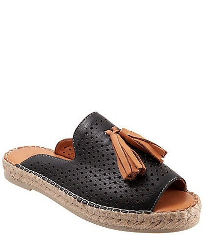 Bueno Navar Perforated Leather Tasseled Espadrille Slides