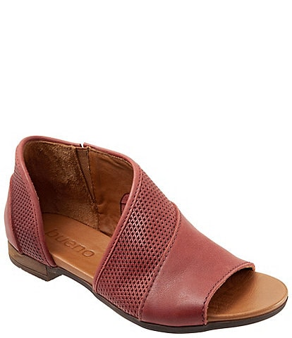 Bueno Tahiti Perforated Leather Asymmetrical Slip On Sandals