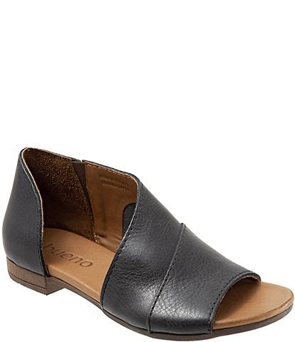 Bueno Tanner Leather Asymmetric Slip Ons