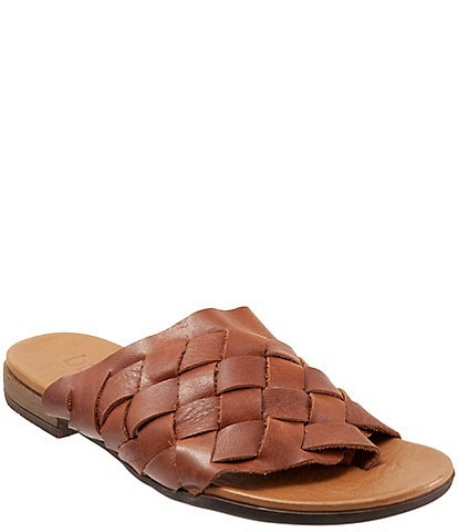 Bueno Tory Woven Leather Thong Slide Sandals