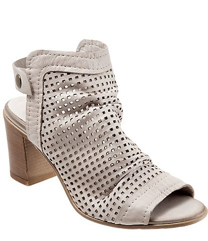 Bueno Udo Perforated Leather Slingback Block Heel Sandals
