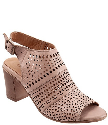 Bueno Upton Perforated Leather Block Heel Sling Sandals
