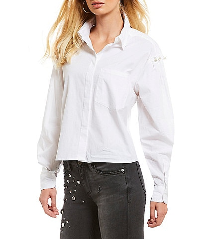 Buffalo David Bitton Battlefeld Pearl Embellished Bishop Sleeve Button Front Shirt