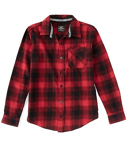 Buffalo David Bitton Big Boys 8-20 Long-Sleeve Twill Plaid Shirt