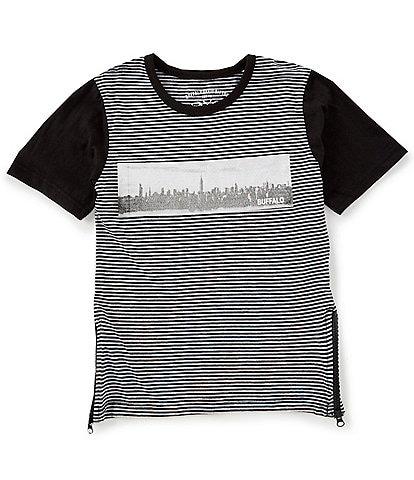 Buffalo David Bitton Big Boys 8-20 Short-Sleeve Striped Side-Zip Graphic Tee