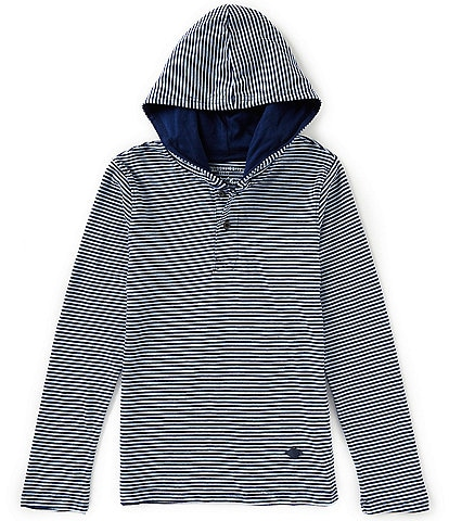 Buffalo David Bitton Big Boys 8-20 Stripe Hooded Henley Long Sleeve Pullover