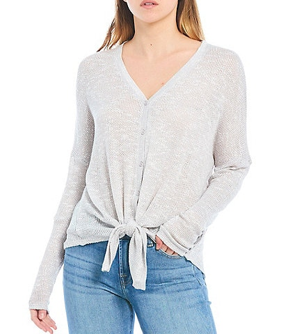 Buffalo David Bitton Real Love Cozy Long Sleeve Dropped Shoulder Button Tie-Front Knit Top