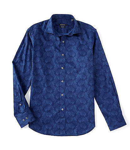 Bugatchi Shaped-Fit Butterfly Long-Sleeve Woven Shirt