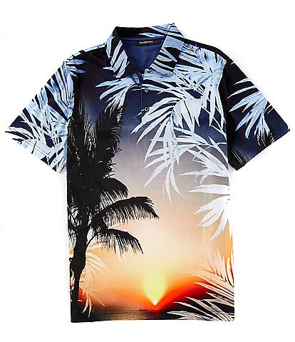 Bugatchi Sunset Digital Print Short-Sleeve Polo Shirt