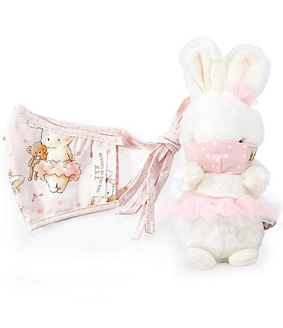 Bunnies By The Bay Blossom Tutu Plush & Little Girls Adjustable Cloth Face Mask Set