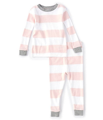 Burt's Bees Baby 12-24 Months Long-Sleeve Rugby Stripe 2-Piece Pajamas Set
