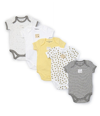 Burt's Bees Baby 3-12 Months Short-Sleeve Solid/Printed 5-Pack Bodysuits
