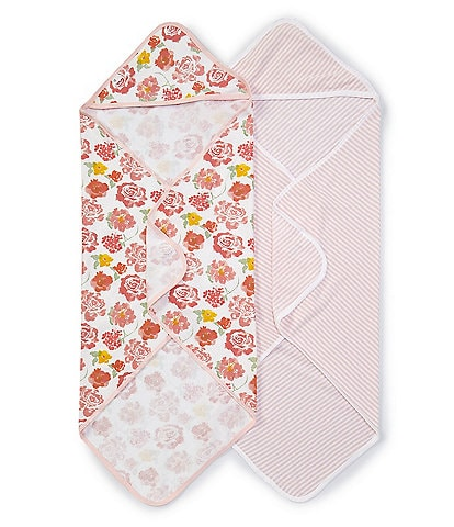 Burt's Bees Baby Girls Rosy Spring 2-Pack Hooded Towel Set
