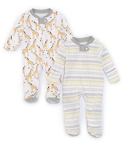 Burt's Bees Baby Newborn-9 Months Long-Sleeve Giraffes/Stripe Loose-Fit 2-Pack Footed Sleeper