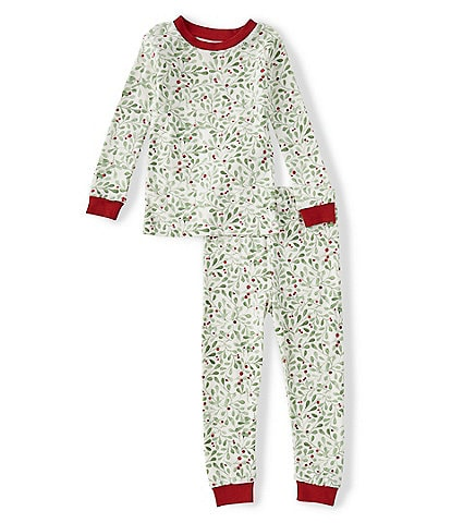 Burt's Bees Little Boys 2T-5 Long-Sleeve Boughs Of Holly 2-Piece Pajama Set