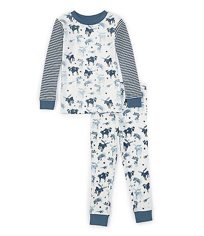 Burt's Bees Little Boys 2T-7 Long-Sleeve Antler Family 2-Piece Pajama Set