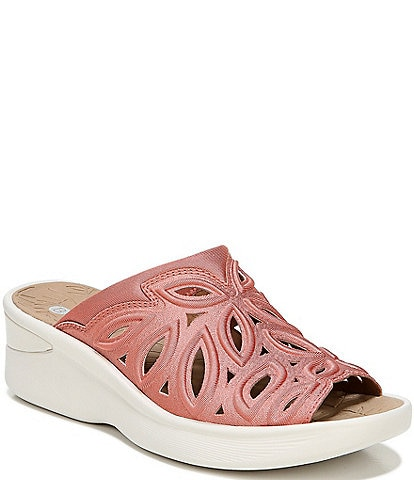Bzees Susie Cut Out Shimmer Washable Wedge Slide Sandals