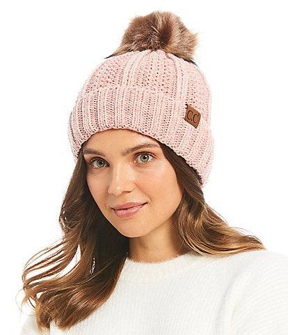 C.C. BEANIES Chunky Knit Fur Pom Beanie