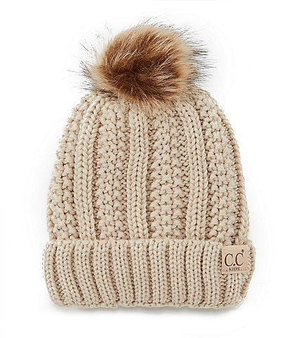 C.C. BEANIES Girls Crocheted Thick-Knit Beanie