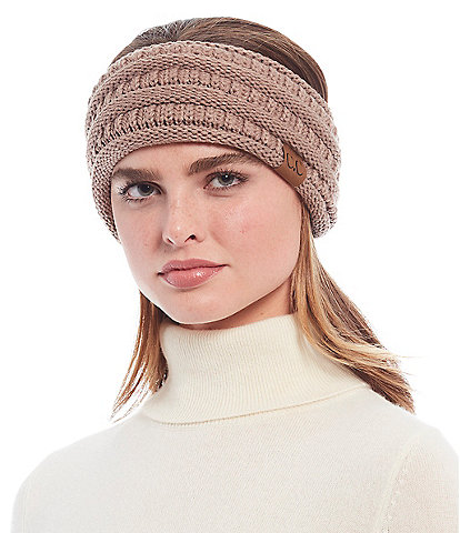 C.C. BEANIES Knit Headwrap With Ponytail Hole